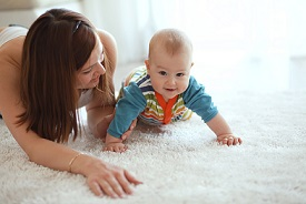 Best carpet cleaning company in Mobile, AL lets baby play on clean carpet